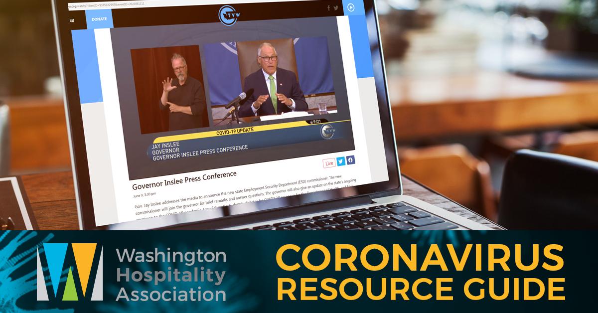 Gov. Jay Inslee addresses Washingtonians during a web conference