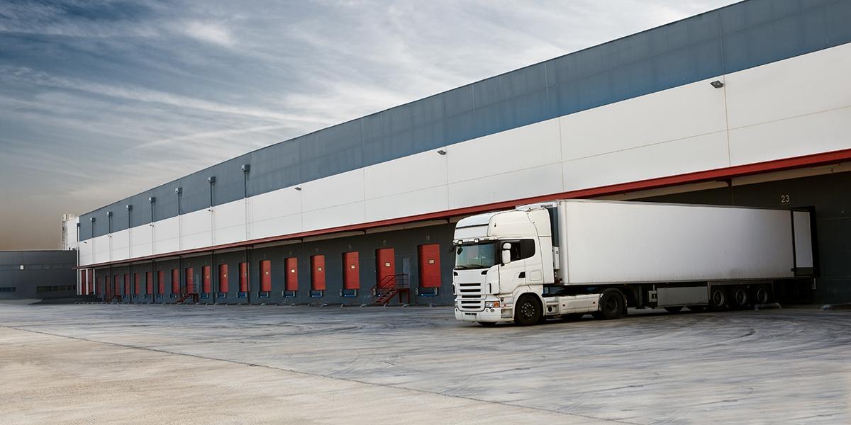 warehouse and semi truck